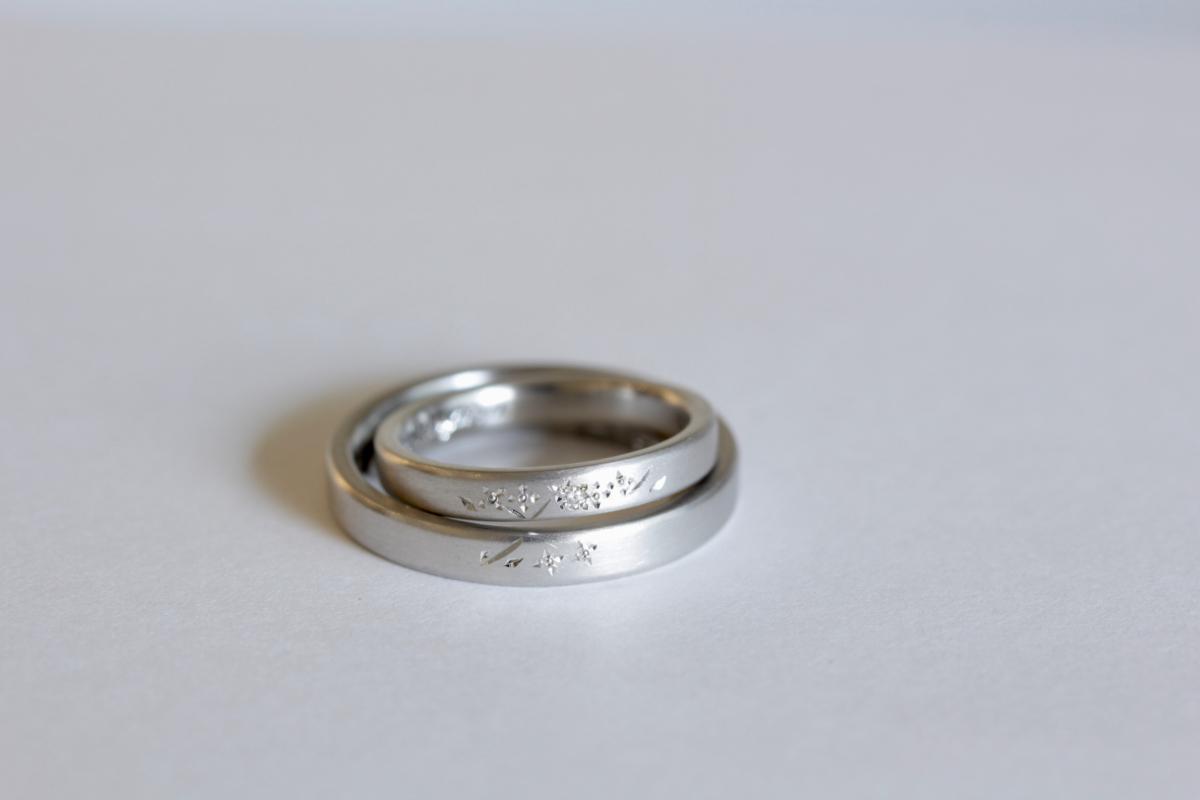 2つの結婚指輪を重ねて出現する紫陽花の和彫り