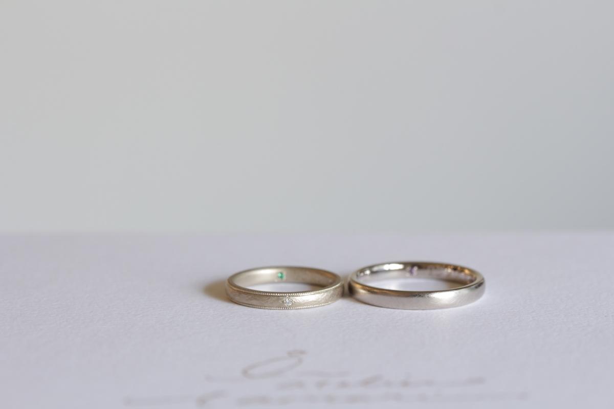 ミルグレインとダイヤモンドをお入れした結婚指輪